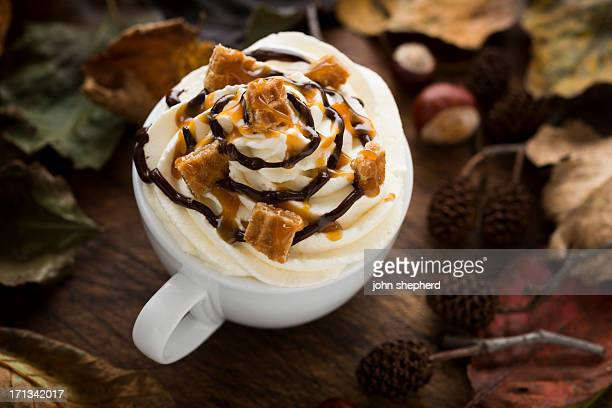 Hot drink with Cream, Caramel Waffle pieces and Chocolate sauce
