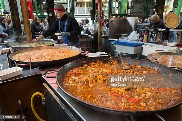 Hot food stall at Borough Market London
