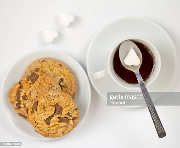Hot, fresh tea. Tea cup with Biscuits