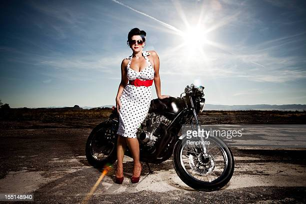 hot girl posing on a motorcycle - hot glamour models stock pictures, royalty-free photos & images