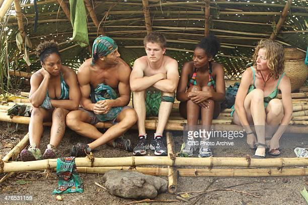 Hot Girl With A Grudge Latasha Tasha Fox Garrett Adelstein Spencer Bledsoe J'Tia Taylor and Kassandra Kass McQuillen of the Brains Tribe during a...