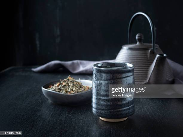 hot green tea in a ceramic cup. - ceremony stock pictures, royalty-free photos & images