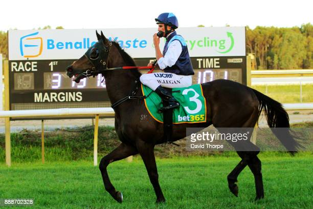 Hot Hansel ridden by Billy Egan returns to the mounting yard after winning the bet365 0 58 Handicap on December 09 2017 in Benalla Australia