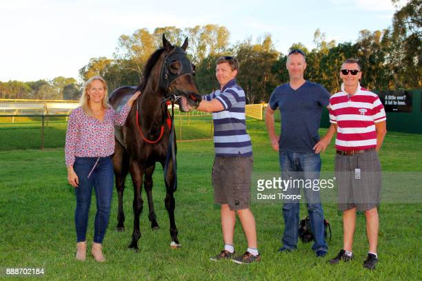 Hot Hansel with connections in the mounting yard after winning the bet365 0 58 Handicap on December 09 2017 in Benalla Australia