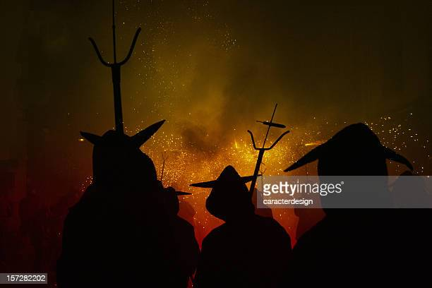 hot hell (catalan festivities) - demons stock photos and pictures