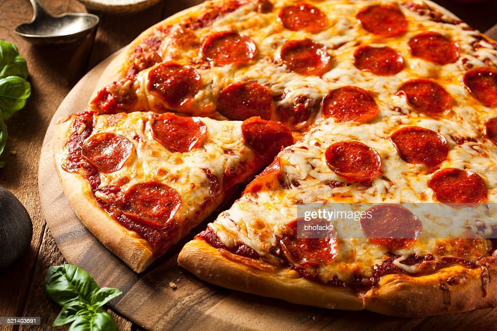 Hot Homemade Pepperoni Pizza : Stock Photo