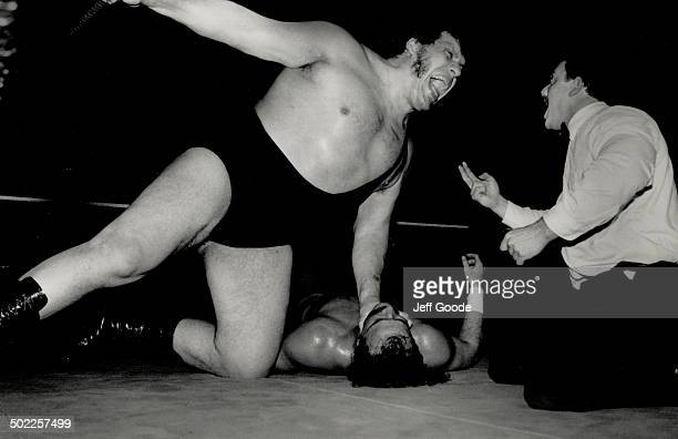 Hot hype Andre The Giant spews vitriol at the referee as fans put in their two cents' worth
