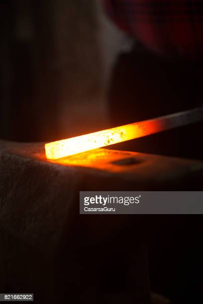 Hot Iron on Anvil in Blacksmith Shop