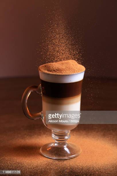 hot layered coffee drink - alisson stock pictures, royalty-free photos & images
