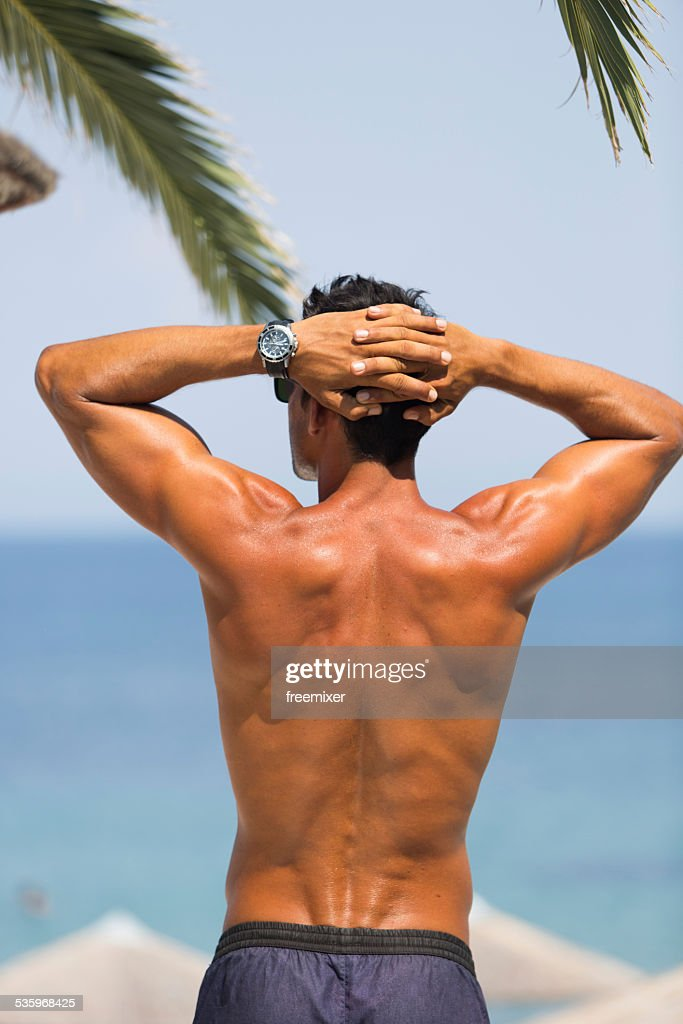 Hot look male enjoy summertime : Stock Photo