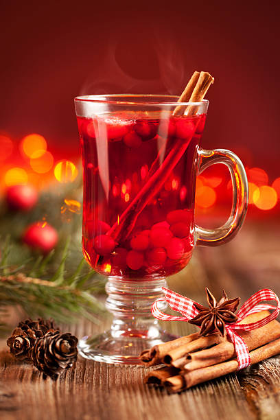 Hot mulled wine with berries