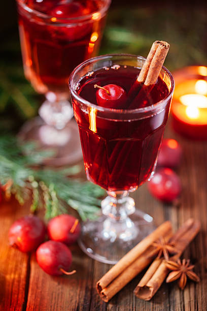 Hot mulled wine with crab apples