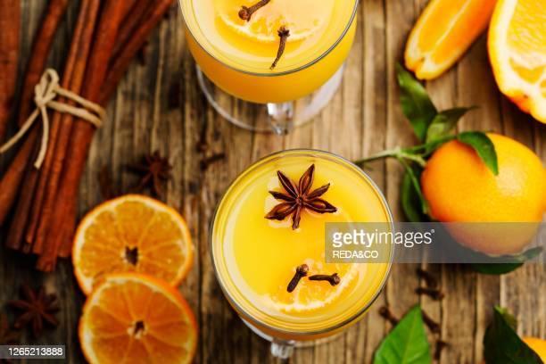 Hot orange drink. Winter Orange Punch. Top view.