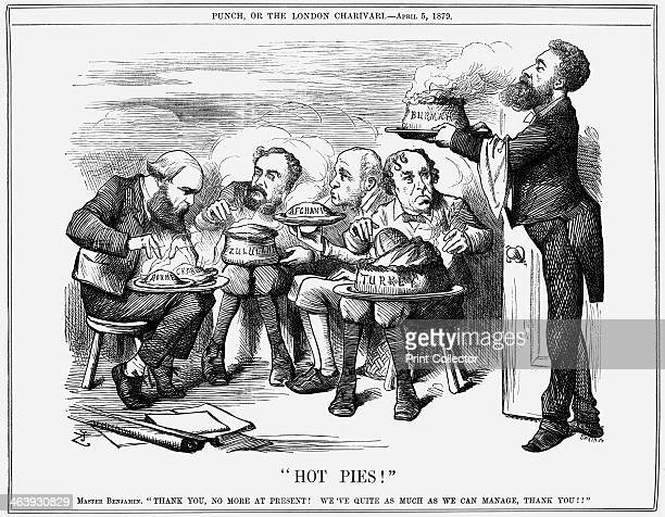 Hot Pies 1879 A group of politicians are devouring pies representing countries Lord Lytton the viceroy of India dressed as a waiter brings another...