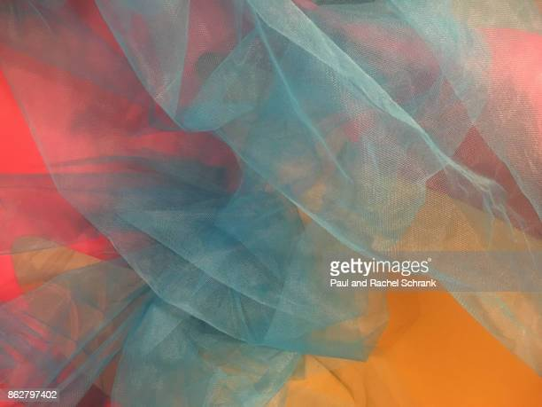 hot pink and yellow with undulating blue - tulle netting stock pictures, royalty-free photos & images