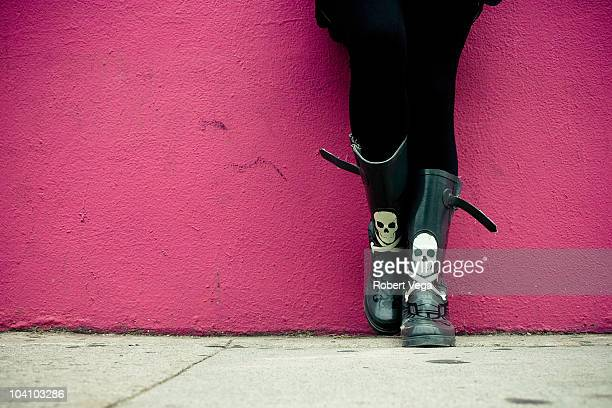 hot pink boots - hot pink stock photos and pictures