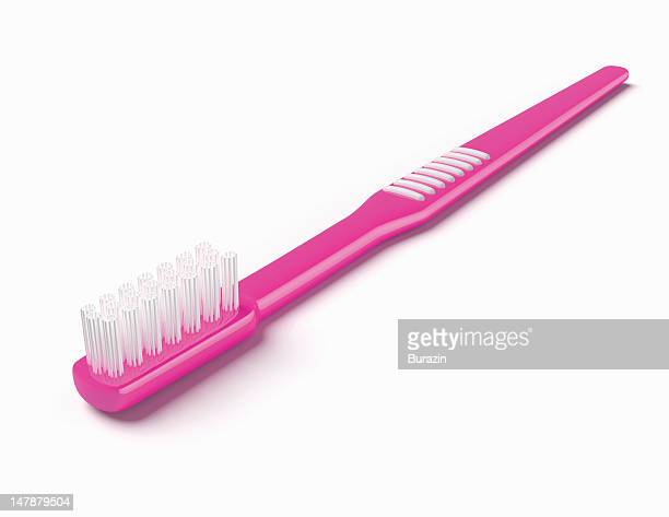 hot pink toothbrush - hot pink stock photos and pictures