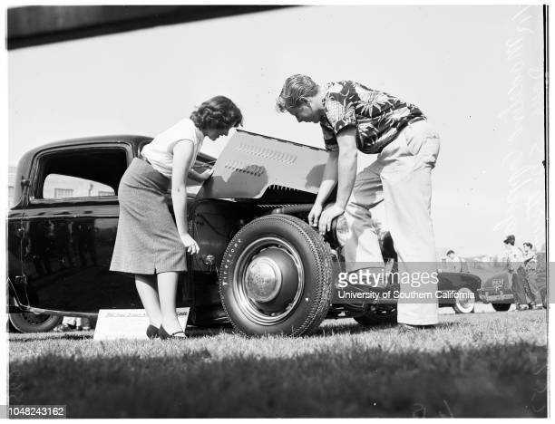 Hot rod show at Marshall High School 07 May 1952 Madeline Coppola 16 yearsDoug Spottswood 17 yearsJoan Dishman 17 yearsBill StanleyJim...