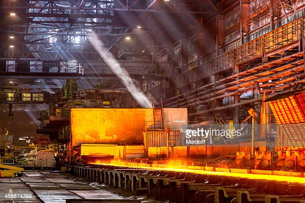 hot rolled steel, industrial plant, russia - steelmaking stock photos and pictures