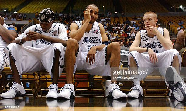 Hot Sauce '50' and 'The Professor' look on from the bench during a timeout at The Great Western Fourm in Inglewood California June 9 2004