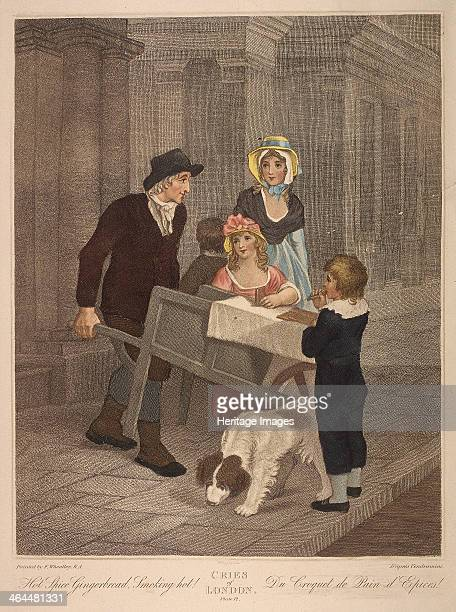 'Hot Spice Gingerbread Smoking hot' A gingerbread seller pictured with a woman and children at his barrow with a boy eating a piece of the...