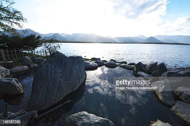 Hot Spring by Lake