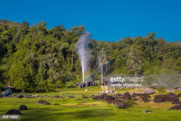 Hot Spring of Doi Fha Hom Pok in National Park With a Little Rainbow Thailand