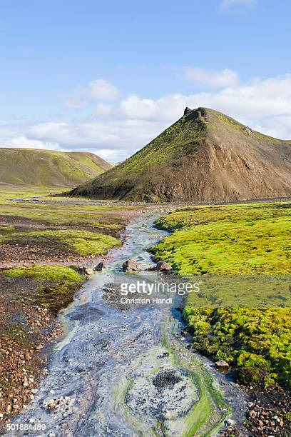 Hot spring of Storihver along the hiking trail to Hrafntinnusker or Raven Mountain, Landmannalaugar, Southern Region, Iceland
