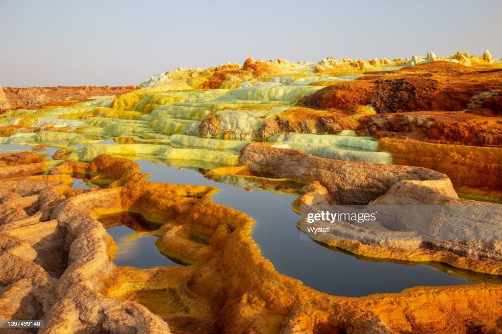 hot springs in the danakil depression : Stock Photo