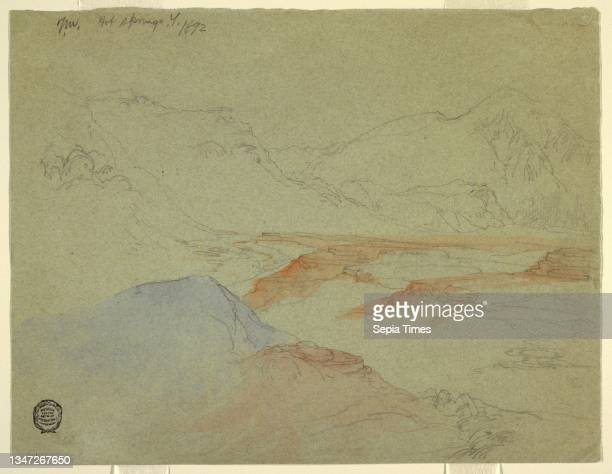 Hot Springs, Yellowstone, Thomas Moran, American, b. Britain, 1837–1926, Brush and light blue and red wash, graphite on gray wove paper, Recto:...