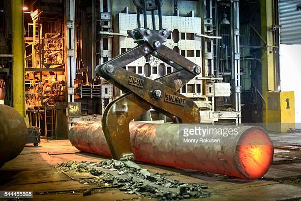 Hot steel bar in steelworks