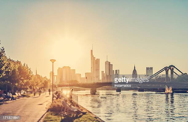hot summer day - frankfurt am main - riverbank stock pictures, royalty-free photos & images