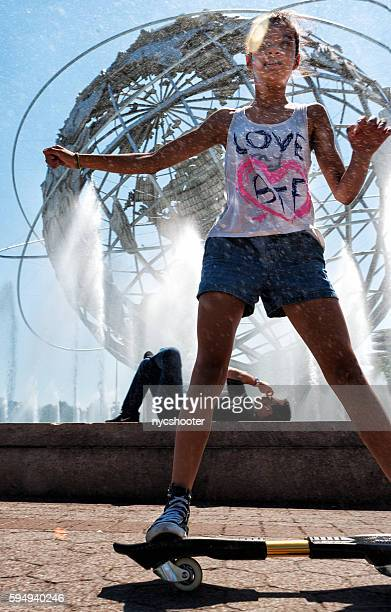 hot summer day in new york city - wet t shirt girls stock photos and pictures