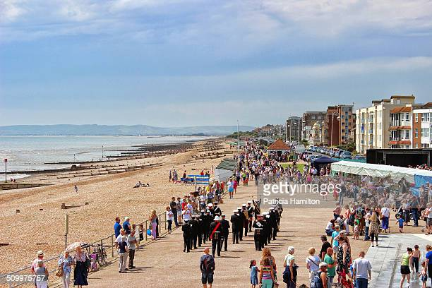 Hot summer's day in Bexhill-on-Sea brings out the crowds and the marching band.