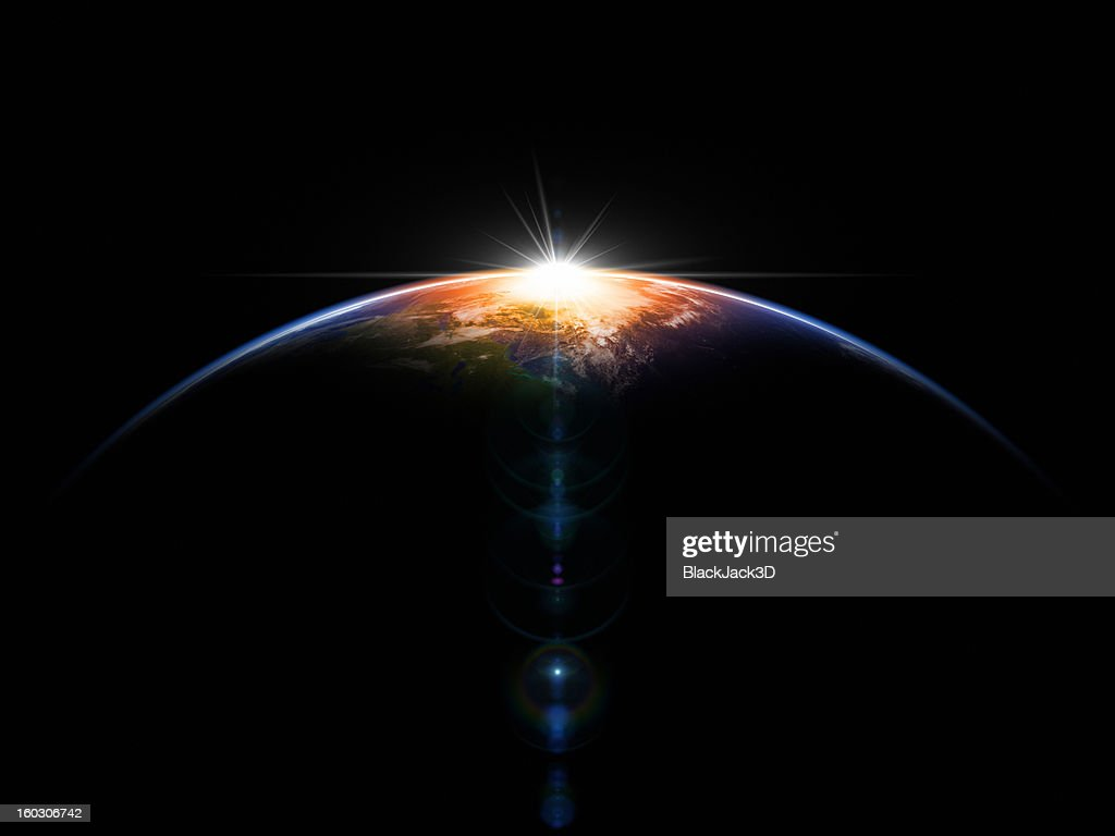 Hot Sunrise In Space : Stock Photo