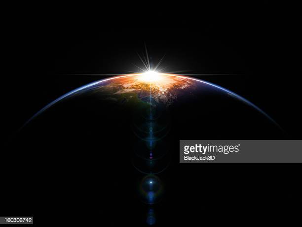 hot sunrise in space - world map stock photos and pictures