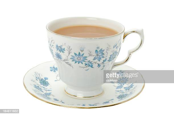 hot tea served in a bone china cup and saucer - saucer stock pictures, royalty-free photos & images