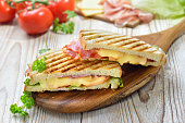 Hot toasted sandwich fresh from the plate grill