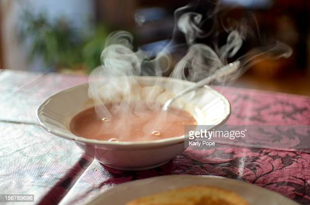 Hot tomato soup with steam