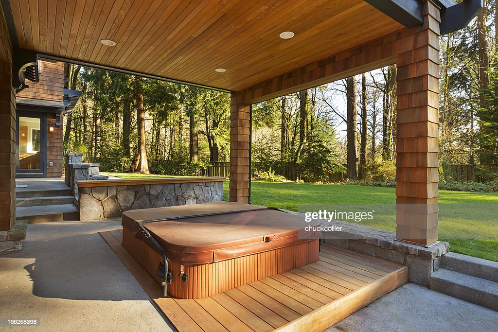 Hot Tub and Amazing Backyard : Stock Photo