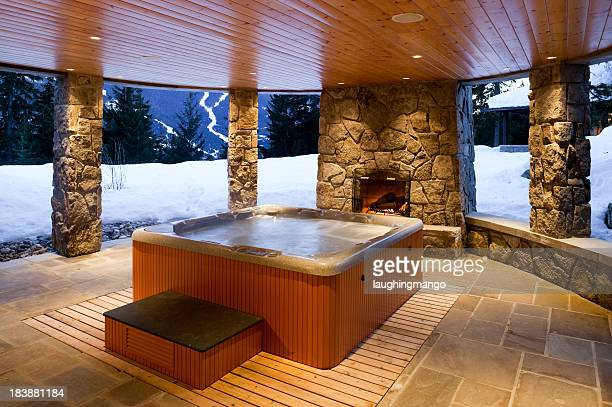 hot tub house home interior whistler - hot tub stock photos and pictures