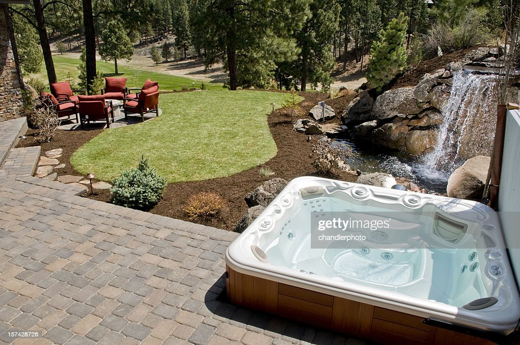 Hot tub with backyard : Stock Photo