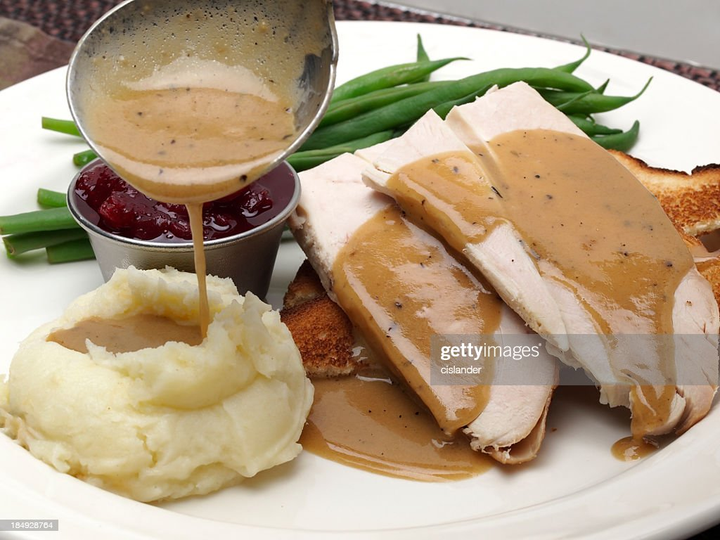 recipe: turkey in gravy over mashed potatoes [12]