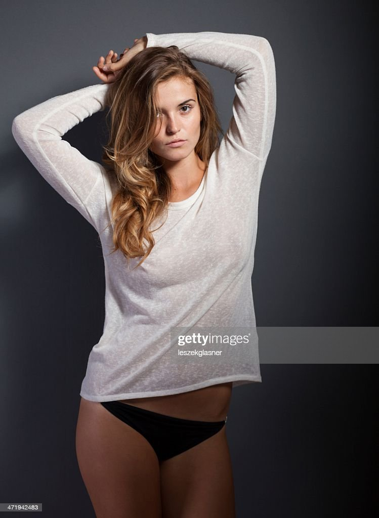 Hot Woman In White Tshirt And Panties High-Res Stock Photo ... T Shirts For Hot Women