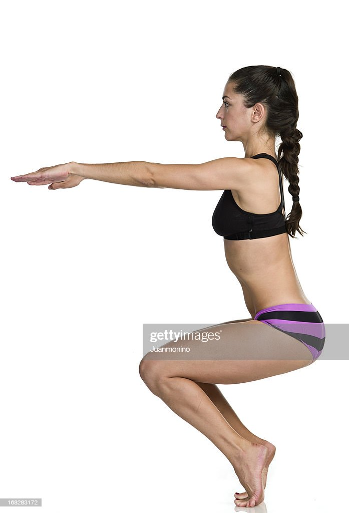 Hot Yoga Awkward pose (Utkatasana) : Stock Photo