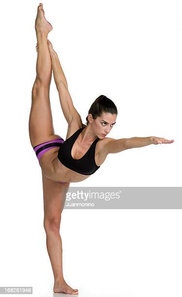 hot yoga pose (dandayamana dhanurasana - bow legs fotografías e imágenes de stock