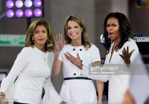 "Hota Kotb, Savannah Guthrie, and Michelle Obama Celebrate International Day of the Girl on NBC's ""TODAY"" at Rockefeller Plaza on October 11, 2018 in..."