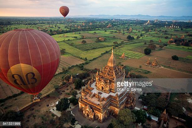 Hotair balloon above the archaeological site of Bagan aerial view Myanmar