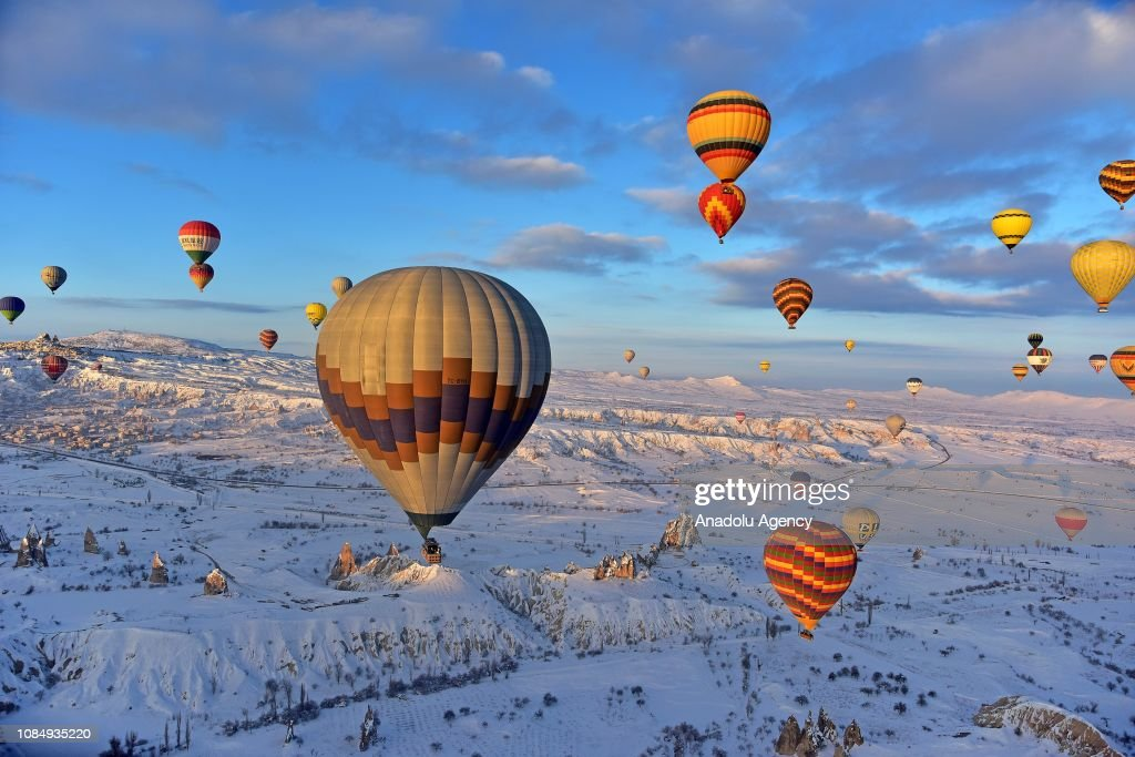 Cappadocia balloon ride in winter : News Photo