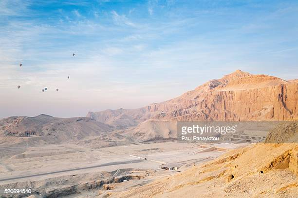 Hot-air balloons over the Temple of Hatshepsut, Luxor, Egypt